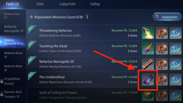 Accept Repeatable Quests that give Darksteel rewards in MIR4