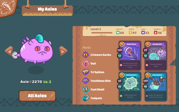 Axie Infinity Stats Body Parts and Abilities
