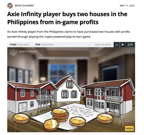 Axie Infinity player buys two houses from profits earned in play to earn blockchain games