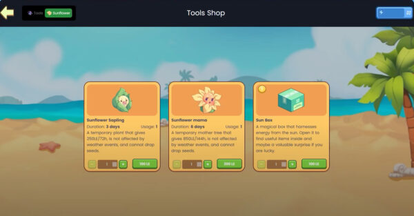 Buy Sunflower seeds or Sun box in Plant vs Undead shop to start farming and earning