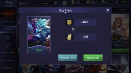 Buy hero in Shop using Tickets in Mobile Legends