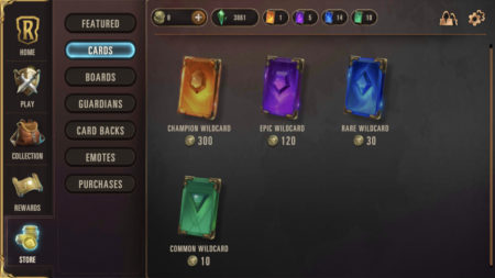 Buy wildcards from the shop using coins in Legends of Runeterra