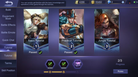 Clear the Tutorial in Mobile Legends to get a one time reward of Battle Points