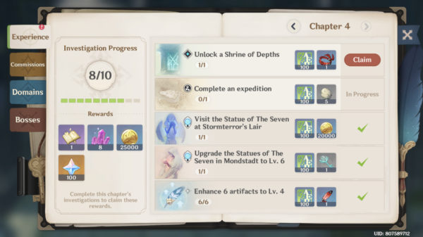 Clearing Adventure Handbook quests to level up Adventure Rank EXP Genshin Impact