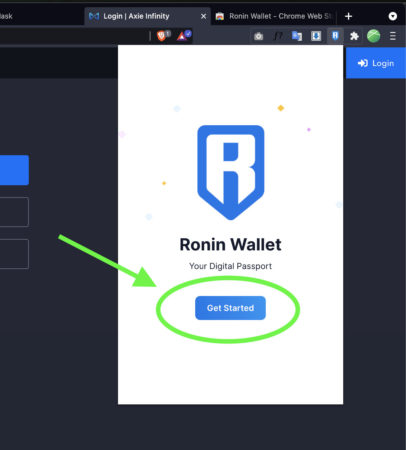 Click Get Started on Ronin Wallet to create account