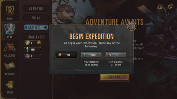 Costs of starting an Expedition in Legends of Runeterra 1