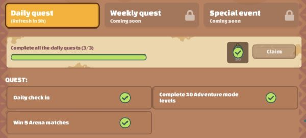 Daily Quest with SLP rewards in Axie Infinity
