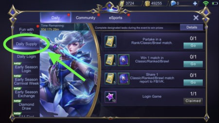 Daily Supply rewards give out Tickets after clearing tasks in Mobile Legends