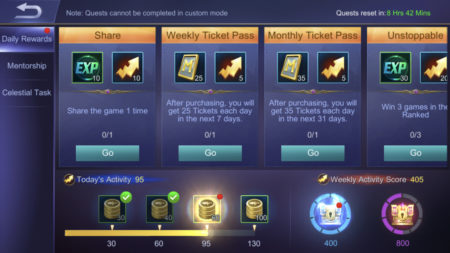 Earn Battle Points by doing Daily Quests in Mobile Legends 1