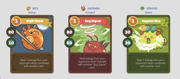 Energy steal cards in Axie Infinity Arena PVP