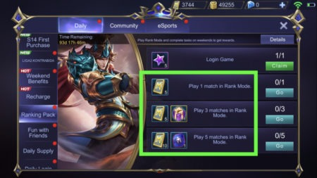 Events rewards give out free tickets in Mobile Legends for clearing tasks