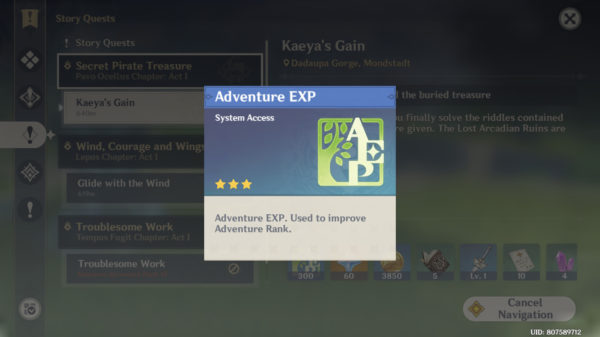 Farm Adventure Rank EXP by doing quests in Genshin Impact
