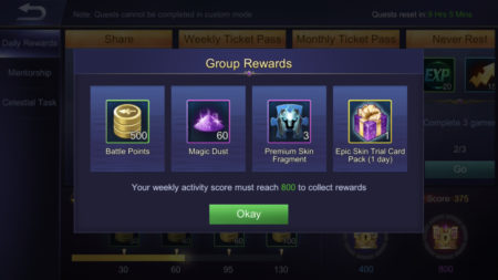 Gain Battle Points and rewards by reaching weekly activity score in Mobile Legends Bang Bang