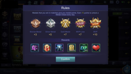 Gain Medal Points to open Medal Chest and gain Battle Points in Mobile Legends