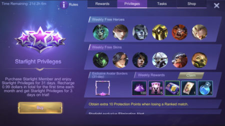 Get a Starlight Membership to increase Battle Points gain and receive Double BP Card in Mobile Legends 1