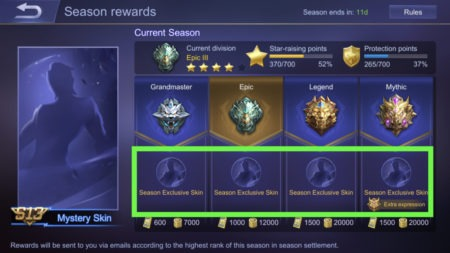 Get a free season exclusive skin by ranking up