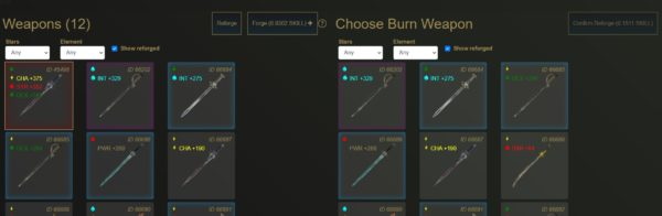 How to Reforge weapons burn weapons in blacksmith CryptoBlades