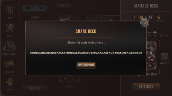 How to share a deck code in Legends of Runeterra