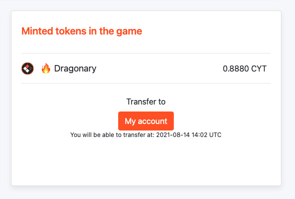 How to transfer minted tokens to your in game Dragonary balance