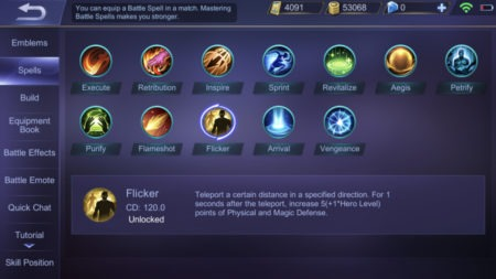 List of Battle Spells preparation Flicker ability Mobile Legends Bang Bang