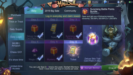 Login daily to claim Daily Login rewards and earn Battle Points in Mobile Legends
