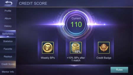 Maintain a good Credit Score to get more Battle Points in Mobile Legends