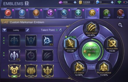 Marksman Emblems stats and talents effects Mobile Legends Bang Bang