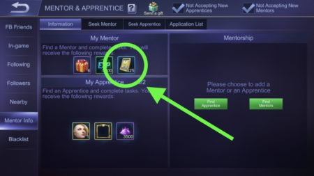Mentor and Apprentice Program gives Ticket Rewards in Mobile Legends