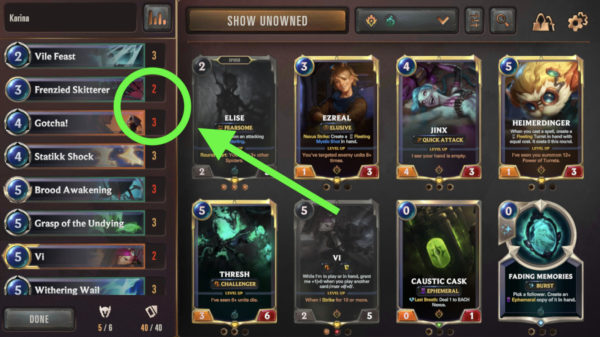 Missing cards from imported deck in Legends of Runeterra