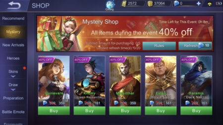 Mystery Shop will give you discount for purchasing with Diamonds