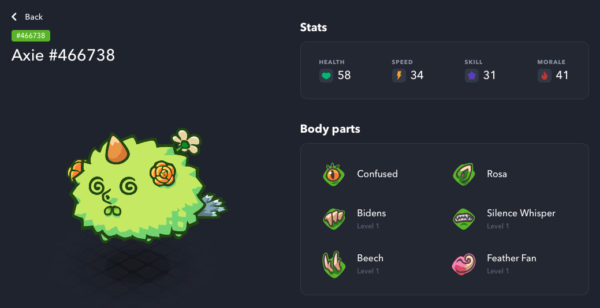 Plant type Axie with 5 pure body parts Axie Infinity Marketplace starter team