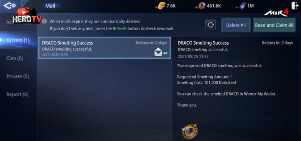 Receive in game mail notification after DRACO successful smelting in MIR4