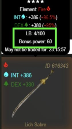 Reforged upgraded weapon with LB and Bonus Power in CryptoBlades