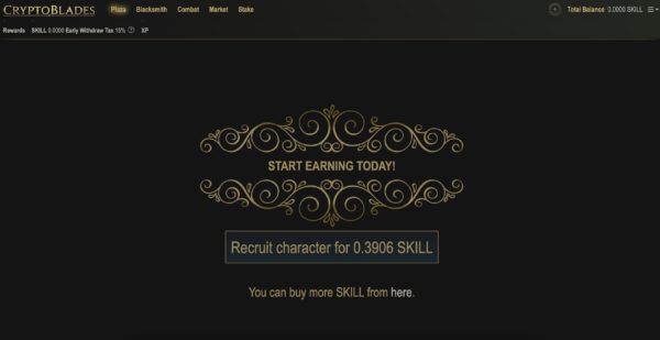 Required SKILL to recruit a character in CryptoBlades blockchain pay to earn game