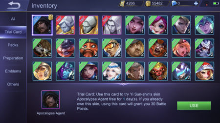 Sell Trial Cards you already own to gain Battle Points in Mobile Legends