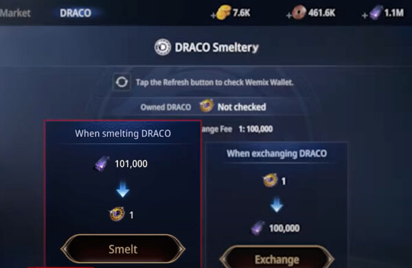 Smelt Darksteel into DRACO to earn by playing MIR4