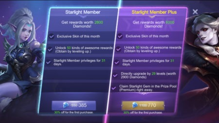 Starlight Member Plus Mobile Legends rewards privileges