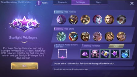Starlight Membership Privileges free heroes skins avatar border rewards