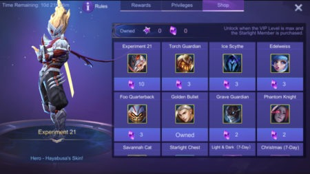 Starlight Membership shop Mobile Legends rare skins