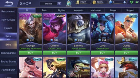 Use Diamonds to buy hero skins from the shop