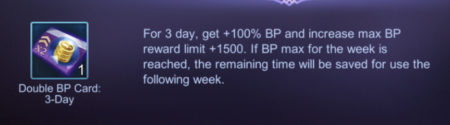 Use Double BP Card to get 2 times more Battle Points in Mobile Legends