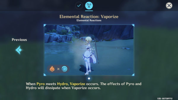 Vaporize elemental reaction hydro pyro Genshin Impact