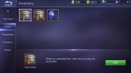 Watch ads in Video Chests in Mobile Legends to gain Battle Points