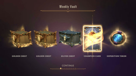 Weekly Vault rewards with Champion card in Legends of Runeterra