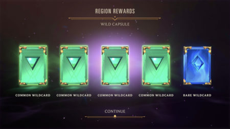 Wild Capsule Wildcard rewards in Legends of Runeterra
