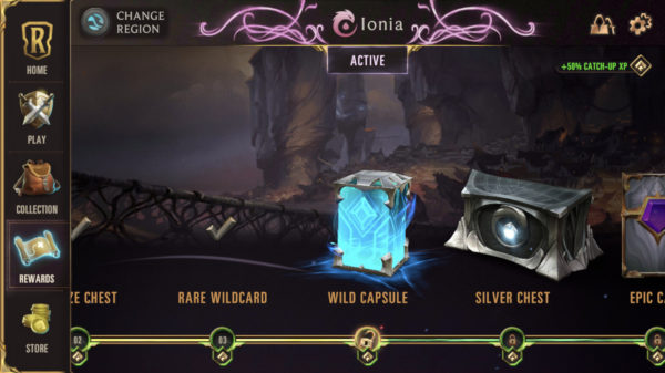 Wild Capsule and rewards for leveling up Region in Legends of Runeterra